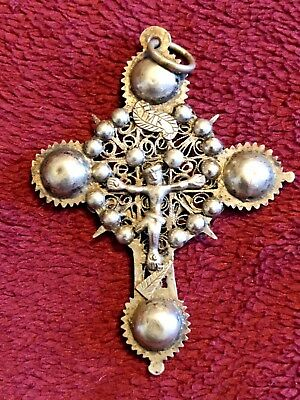 Early 19Th Century German Nuns Silver Crucifix Pendant Rare #2 Of 6
