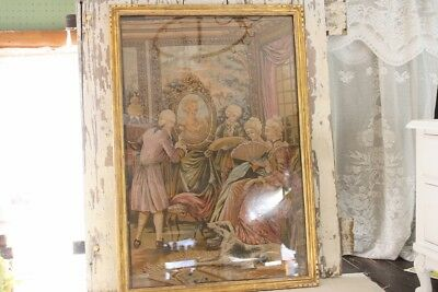 Antique Tapestry Framed Large 42x29 Painting of Portrait Females w Dog Artists