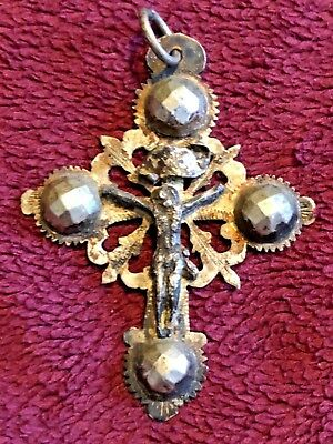 Early 19Th Century German Nuns Silver Crucifix Pendant Rare #5 Of 6
