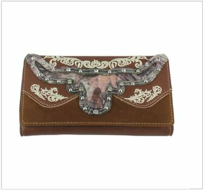 Long Horn Women Trifold Western Wallet Rhinestone Camouflage Zip inside Brown