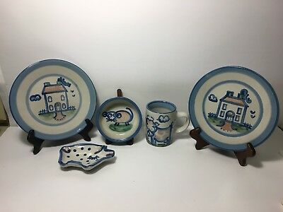 Lot of 5 M.A Hadley Folk Art Pottery Kitty Bowl Plate Cow Mug Country Stoneware