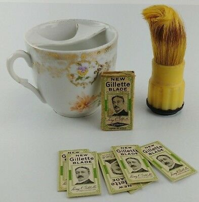 Vintage Shaving Collectible Gillette Blades Stanhomb Brush Germany Shave Cup Lot