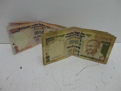 Indian Bank Notes World Currency- 500 and 1000 Rupee Notes Paper Money