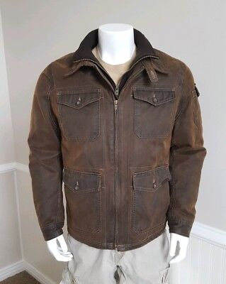 Coumbia jacket brown waxed cotton look mens medium fully lined nice