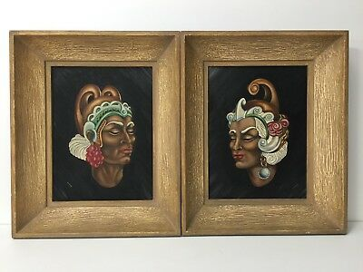 Set of 2 Maddox Original Oil Painting on Canvas Board African Woman Portrait