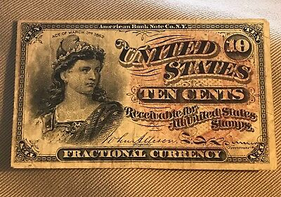 10c fractional currency 4th series, Green reverse VF