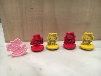 Lot 4 Vtg 80's Hello Kitty Ink Stamps & Mini Pink Toy Kitty On Rocker Horse