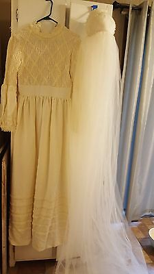 Vintage Mid Century Wedding Gown Dress w/ Long Capped Cap Veil Murray Hamburger