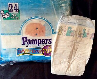 Vintage Pampers Phases Baby-Dry Plus Diaper Sz Maxi Plus for Girls Greece Import