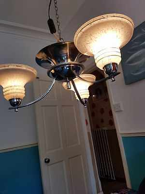 Antique/Vintage Art Deco Ceiling light and matching pair wall lights. Original