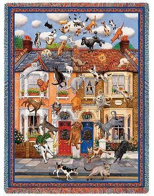 """IT''S RAINING CATS & DOGS Humorous Tapestry AFGHAN THROW 54"""" x 70"""" USA MADE!"""
