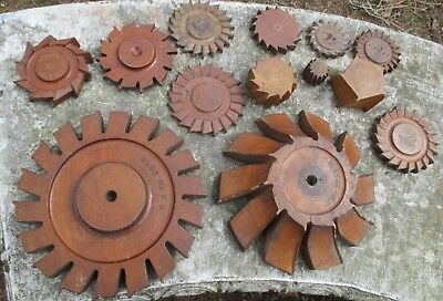 """Vtg. WOODEN GEAR COGS D T M C FOUNDRY MOLD PATTERNS 10"""" 1.5 INDUSTRIAL AMERICANA"""