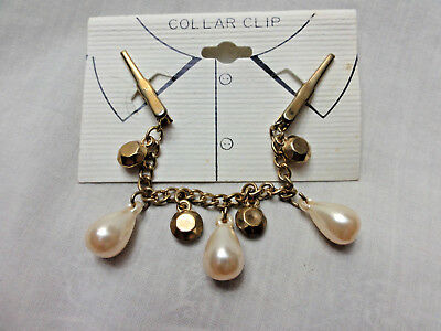 Vintage Shirt Collar Clip Gold Beads Faux Pearl Sweater Top Blouse Collar Clip