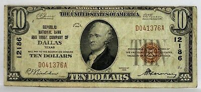 1929 $10 Dollar Republic National Bank And Trust Company Of Dallas Charter 12186