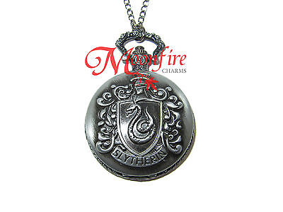 Harry Potter Slytherin House Crest Pocket Watch Necklace Ambition Cunning Leader
