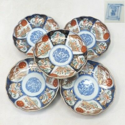 H978: Real Japanese OLD IMARI porcelain five small plates with good painting