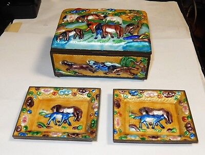 Old Chinese Horses Repousse Cloisonne Yellow Enamel Humidor Box And Trays Set