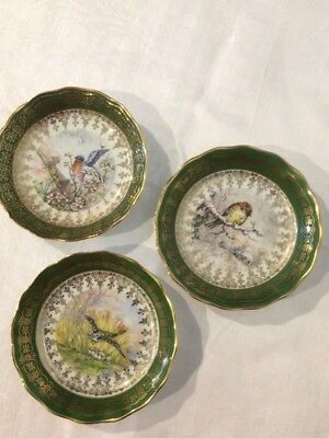 Limoges Emerald Green Bordered  Hand Painted French Bird Series Plates