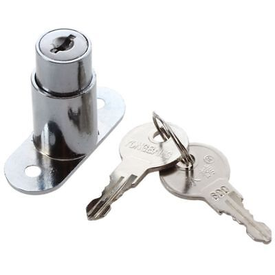 Silver Tone Metal Sliding Door Showcase Cylinder Plunger Lock with 2 Keys U5B7