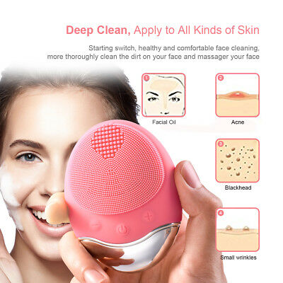 Tqka Electric Soft Silicone Facial Cleanser Brush Face Washing Machine Pink Rose