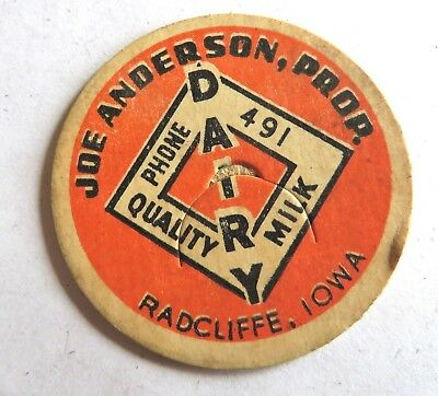 "Vintage Milk Cream Bottle Cap 1-5/8"" Joe  Anderson Dairy Radcliffe Iowa"