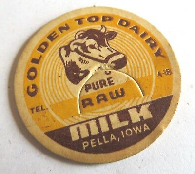 "Vintage Milk Cream Bottle Cap 1-5/8"" Golden Top Dairy Pella Iowa"