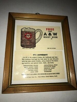 Two Free A&W Root Beer Cards  1950's ~ In Frame Unstamped