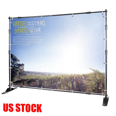 8'x8' Trade Show Step and Repeat Backdrop Telescopic Pop Up Adjustable Stand HT