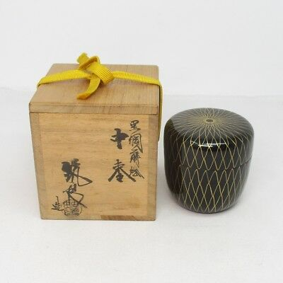 H682: Japanese lacquered powdered tea container of popular AMI-TE MAKIE with box
