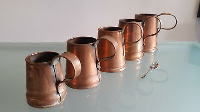 5 Antique Copper Graduated Measures. Tallest. Well Used & In Nice Condition.