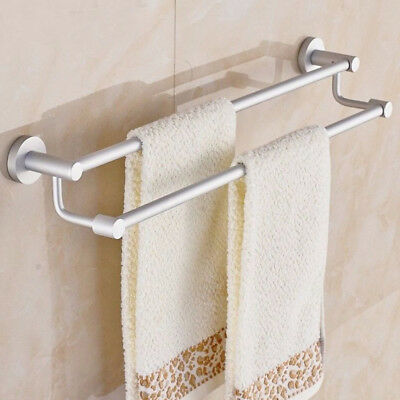 STAINLESS STEEL BATHROOM Double Towel Bar Rail Holder Rack Shelf ...