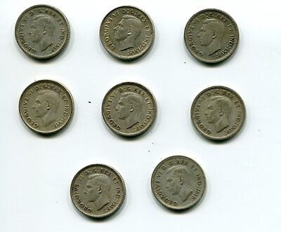 Lot of 8 Canada 10 Cents George VI with IND:IMP (various years) .800 Silver