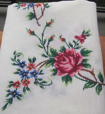 Large Vintage Hand Cross Stitched Embroidered TABLECLOTH 'Rose Pattern'