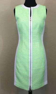 56cc54dc53e43 ELIE TAHARI BODYCON white green tweed neon dress Zipper size 4 - $25.49 |  PicClick