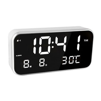 AU LED Digital Alarm Clock Night Light Thermometer Display Mirror Alarm Clock