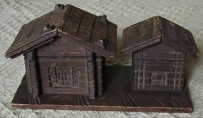 Rare Antique Black Forest Chalet Ink Well &  Stamp Box
