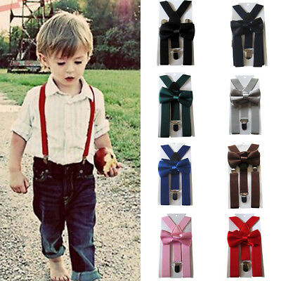 Cute Braces Suspender and Bow Tie Set for Baby Toddler Kids Boys Girls Children