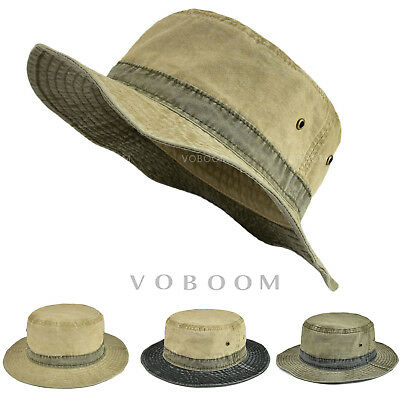 eb05e67859 Bucket Hats Mens Fishing Hat Vintage Fisherman Hunting Hiking Flat Cap  Cotton