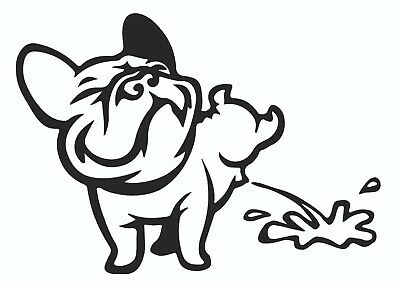 French Bulldog Weeing Vinyl Sticker Decal Funny Cartoon French