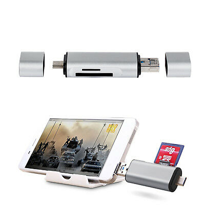 3 in 1 75mm Card Reader Adapter Type C USB-A Micro USB port TF SD MS For Mac US