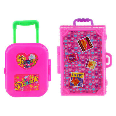 2pcs Plastic Rolling Suitcase Luggage Box for Barbie Dolls Travel Accessory