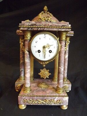 "19C French Purple Marble Clock ""A. Mougin""C1880."