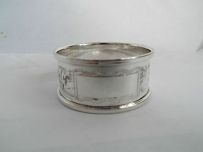 Vintage Silver Napkin Ring Engraved Decoration -  Millennium Hm 2000 No Initials