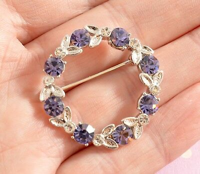 Vintage style Silver plated tanzanite Swarovski elements wreath brooch - Boxed