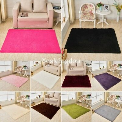 Fluffy Rugs Thick Shaggy Area Rug Dining Room Carpet Floor Mat Home Bedroom Soft