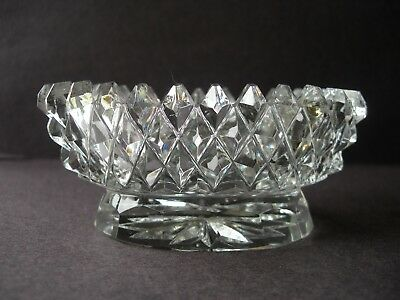 Nice Antique Diamond Cut Crystal Cut Glass Oval Shaped Footed Open Salt
