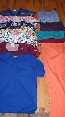 womens scrubs lot 12 pieces size small cherokee dickies peaches pants tops exc.
