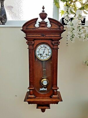 Stunning Carved Gustav Becker Vienna Regulator Wall Clock