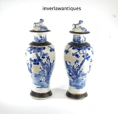Pair Chinese Qing 19Th Century Blue White Lidded Vases