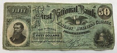 $50 FIRST NATIONAL BANK EASTMAN BUSINESS COLLEGE POUGHKEEPSIE NY 1800s